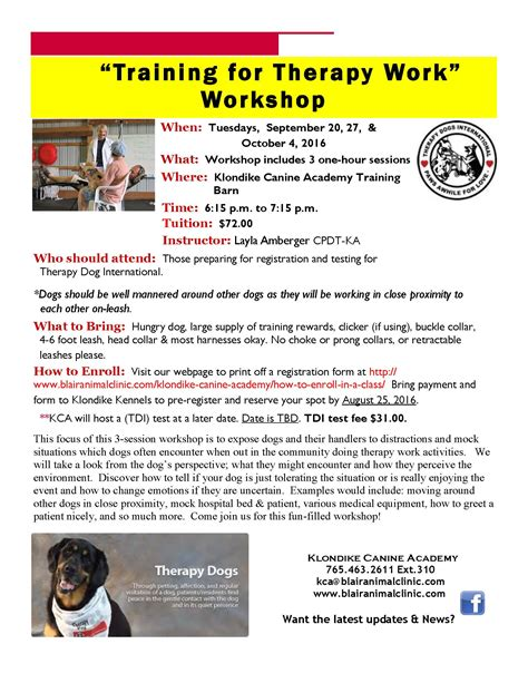therapy workshops therapy pet workshop blair animal clinic klondike