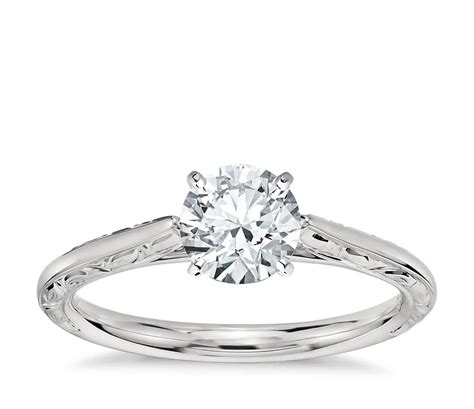 Engraved Wedding Rings by Engraved Profile Solitaire Engagement Ring In