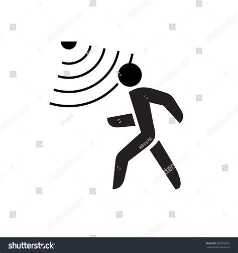 symbol for walking symbol motion sensor waves stock vector