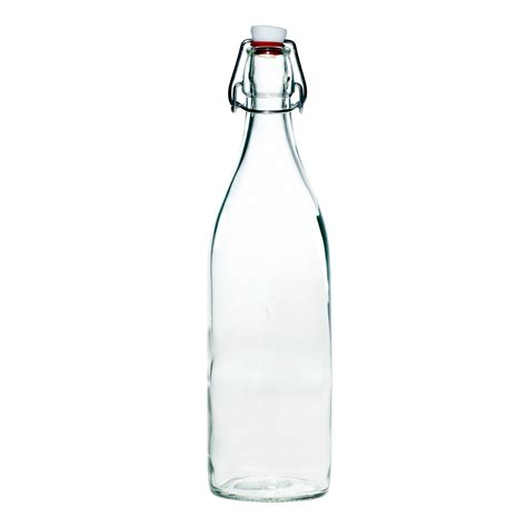 clear glass bottle with swing top new modern home 1l 34oz glass round swing top bottle