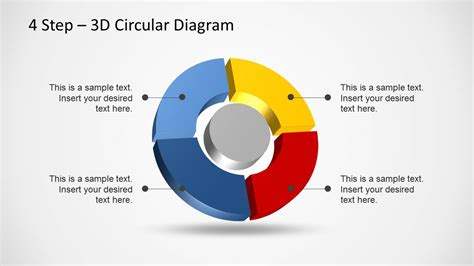 4 step segmented circular diagrams for powerpoint slidemodel 4 step 3d circular diagram template for powerpoint