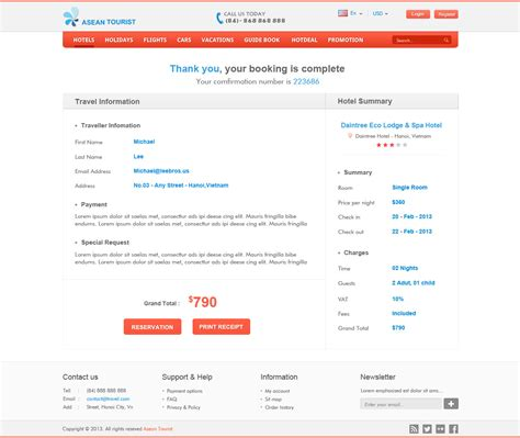 hotel confirmation email template atourist hotel travel booking site template by