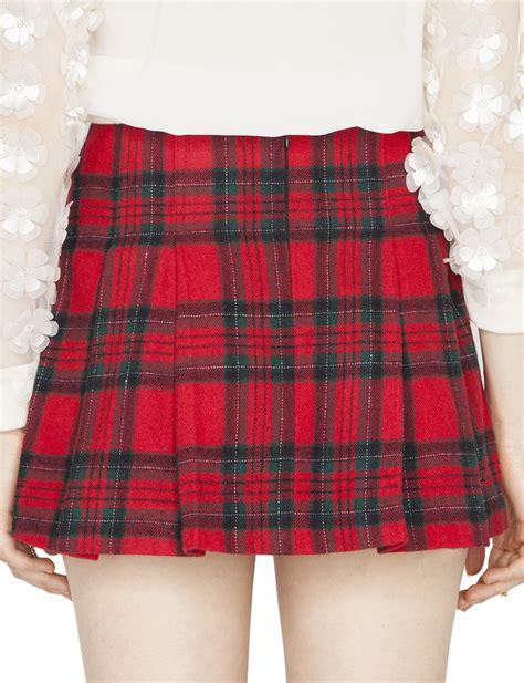pixie market tartan pleated buckled skirt in lyst