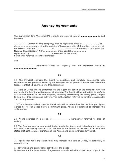 Agency Agreement Letter Format Agency Agreement