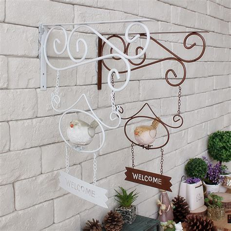 Garden Wrought Iron Decor Vintage Home Decor Cafe Clothing Wall Hanging Garden Decor Wind Wrought Iron Birds Welcome