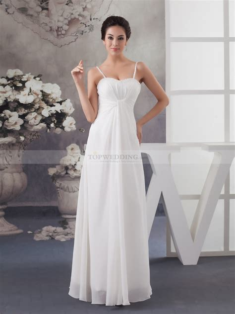 Front Simple Dress spaghetti strapped simple chiffon wedding dress with front draping