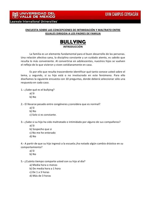 preguntas cerradas bullying bullying padres