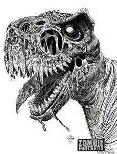 t rex zombie close up by originalzombie on deviantart