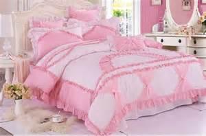pink white girls lace ruffled bowtie princess pastoral bedding kids bedding sets