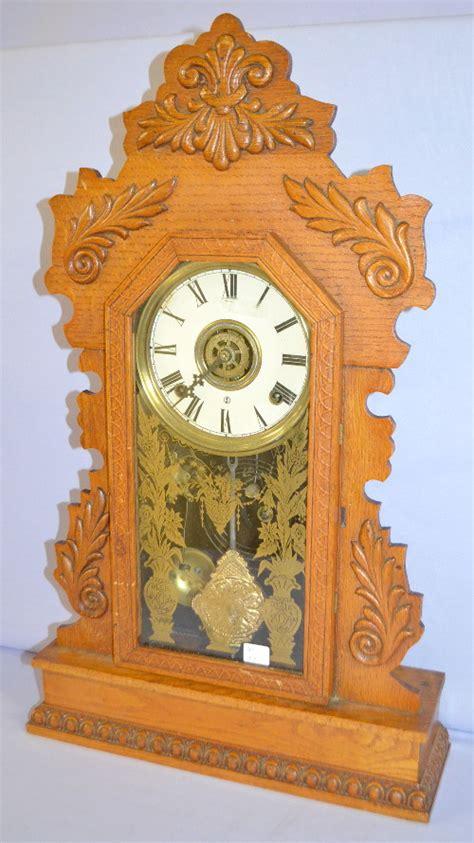 antique gilbert pressed oak kitchen clock quot citizen no 17 quot