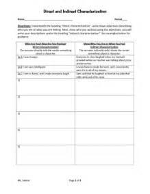 direct vs indirect characterization worksheet abitlikethis