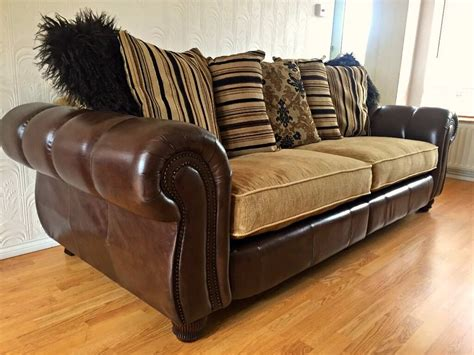 Leather Fabric Sofa by Henley Mayfair Leather And Fabric 4 Seater Sofa Tetrad