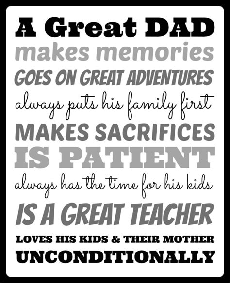 printable dad quotes what makes a great dad free printable dads and free