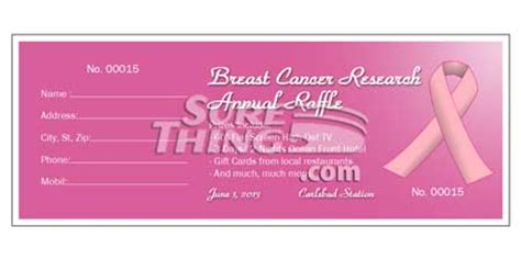 Surething Ticketmaker Www Surething Com Breast Cancer Raffle Ticket Template