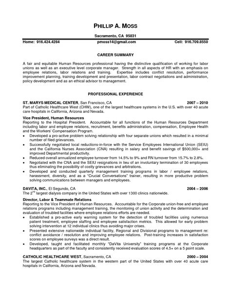 Relation Executive Resume by Labor Relations Resume Exles Bongdaao