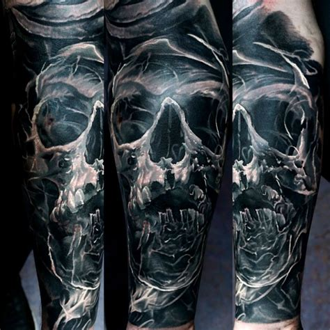 skull and smoke sleeve tattoo designs colored sleeve of human skull with smoke
