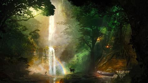 jungle forest falls deer nature scenery