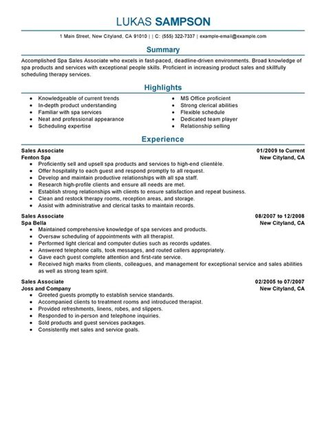 retail associate resume template sales associate resume exles free to try today