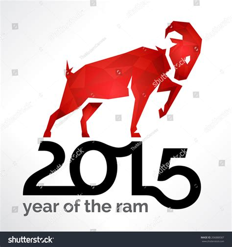 new year 2015 goat or ram 2015 new year of the ram sheep or goat on white