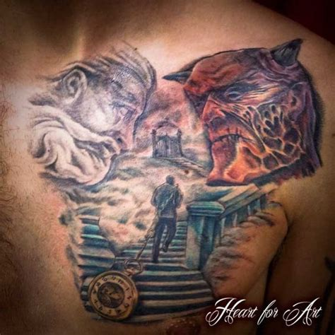 heaven and hell tattoos stair way to heaven or hell religious chest choose