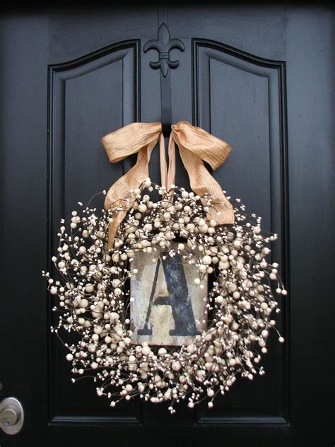 wreaths monogram wreath spring wreath  door personalized
