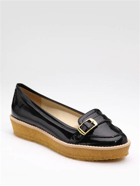 black patent leather loafers stella mccartney faux patent leather wedge loafers in