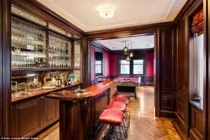 Bar Billiard Room by Manhattan Mansion With Hermes Leather On The Wall On Sale