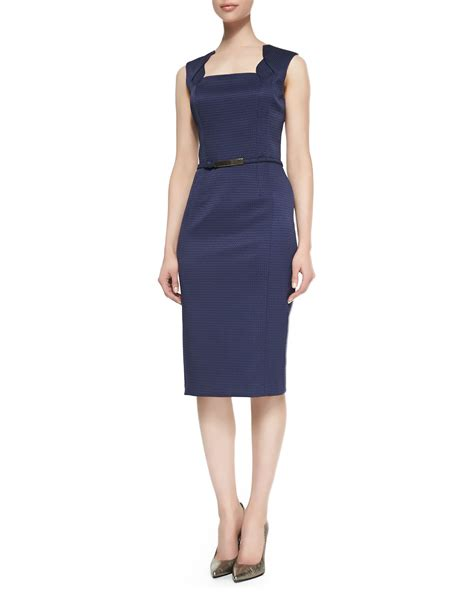 david meister sleeveless belted sheath dress navy in blue
