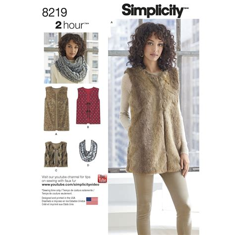 sewing pattern simple vest simplicity 8219 misses line vest in three lengths