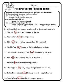 Helping Verb Worksheets by Present Tense Helping Verbs Am Is Are Helping Verbs