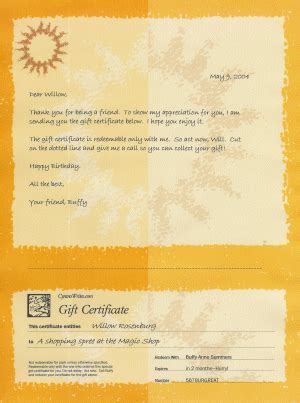 Gift Letter To A Friend Sle Of Gift Certificate Stationery Used For Friends