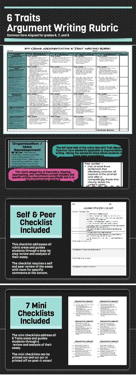 common core  traits argumentative writing rubrics    google resource peer review