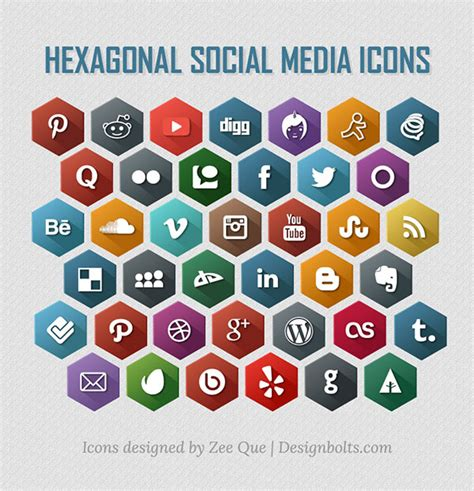 free 9 flat long shadow icons vector titanui free flat long shadow style hexagonal social media icons