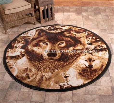 wolf area rug rustic lodge inspired detailed image wildlife rugs deer or wolf 3 sizes avail ebay