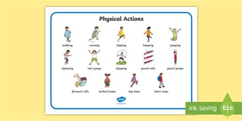 physical education mats pe physical actions word mat pe actions physical