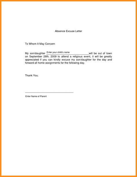 sle excuse letter for school absence due to vacation cover letter templates