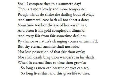 S Day Summary Summary And Analysis Of Sonnet 18 By William