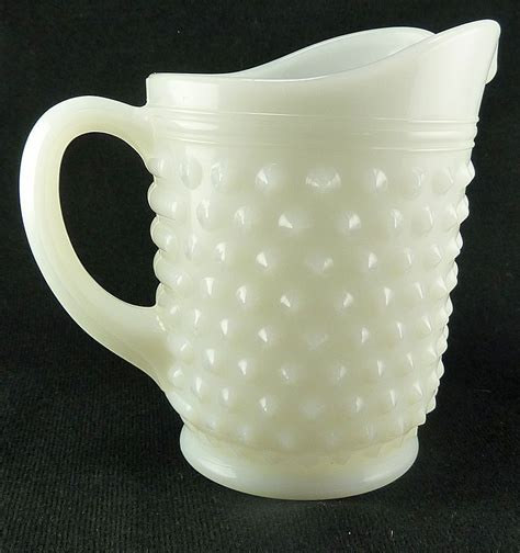vintage white hobnail milk glass l white vintage small juice pitcher hobnail milk glass from