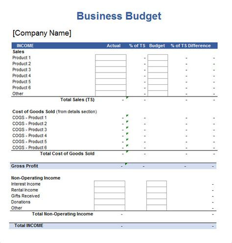 small business budget template excel templates for