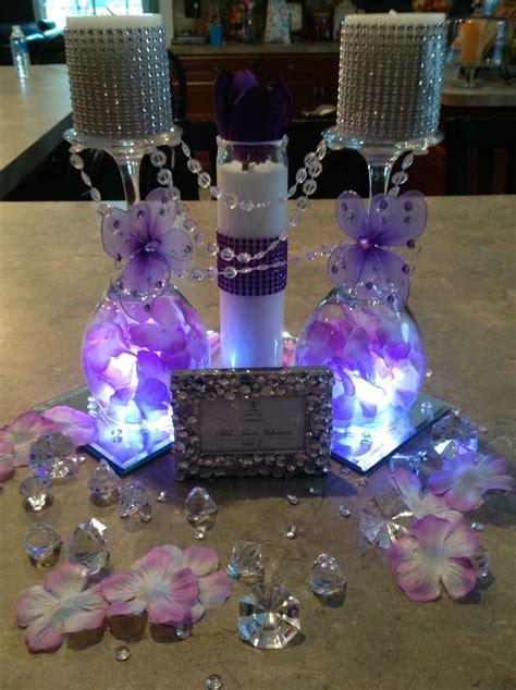 centerpiece butterfly purple bling wedding centerpieces