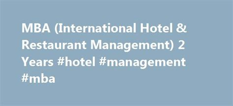 Mba In Hotel And Restaurant Management by Best 25 Restaurant Manager Ideas On
