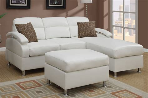 leather sofa ottoman poundex kade f7688 white leather sectional sofa and