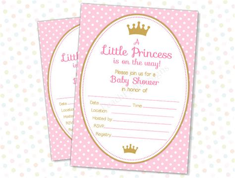 free princess baby shower invitation templates items similar to princess baby shower invitation instant