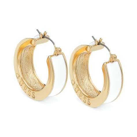 Guess Fashion Gold White guess gold hoop earrings beautify themselves with earrings