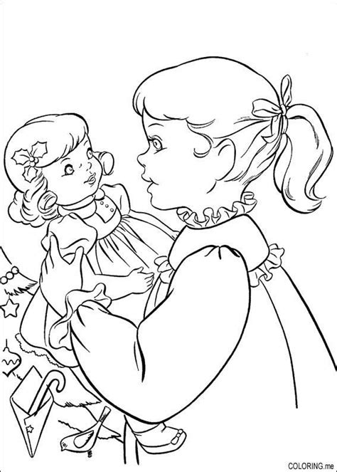 cute coloring page of girl with her doll american girl