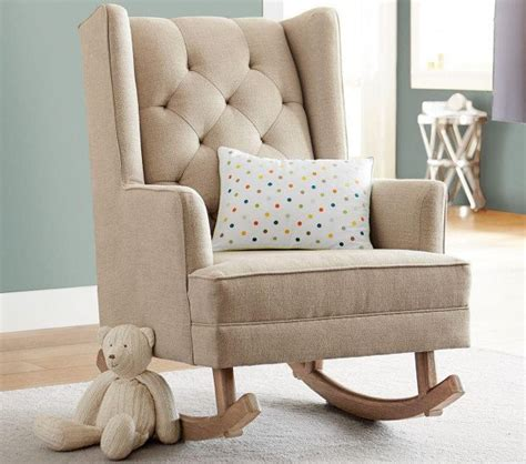 small rocking chairs for nursery pottery barn s tufted wingback is a nursery chair that rocks