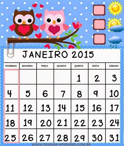 Calendario Janeiro 2015 Calend 193 2015 Corujinhas Colorido Muito Fofo