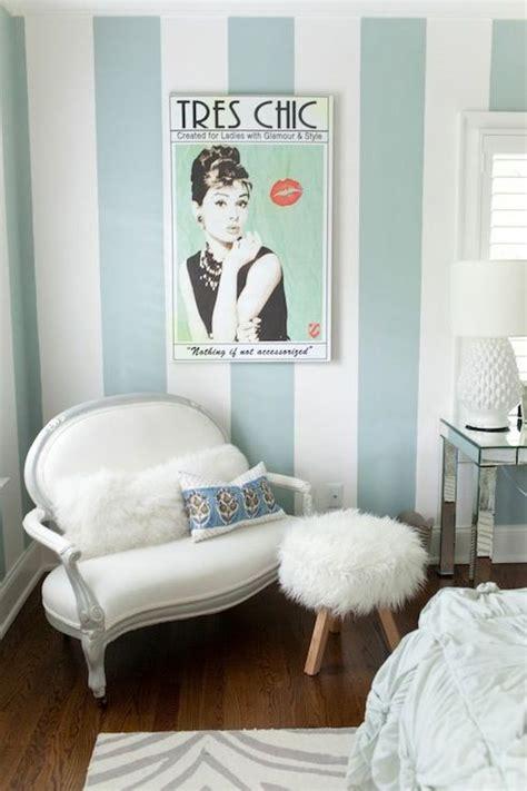 tiffany blue teenage bedroom striped walls contemporary girl s room furbish studio