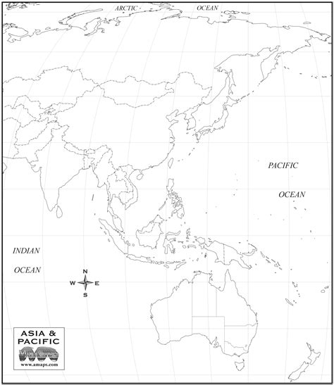 Asia Pacific Region Map Outline by Map Of Asia Oceania My