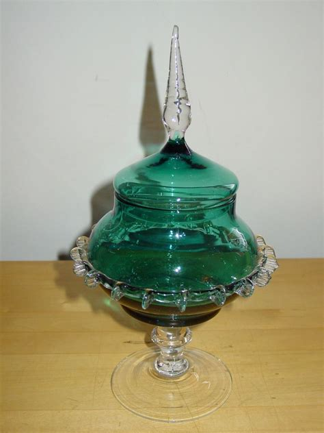 teal blue glass l antique apothecary jars pair teal blue art glass pedestal